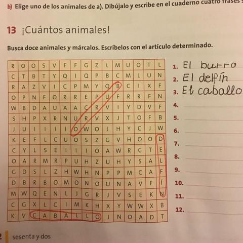 Nummer 13, Kreuzworträtsel Tiere auf Spanisch  - (Gymnasium, spanisch, Spanien)