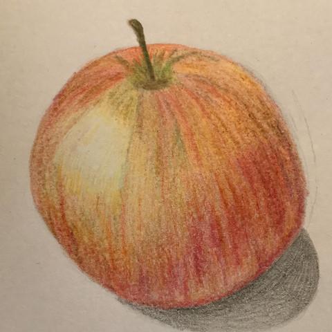 Zeichnung Apfel - (Zeichnung, Apfel, Buntstifte)