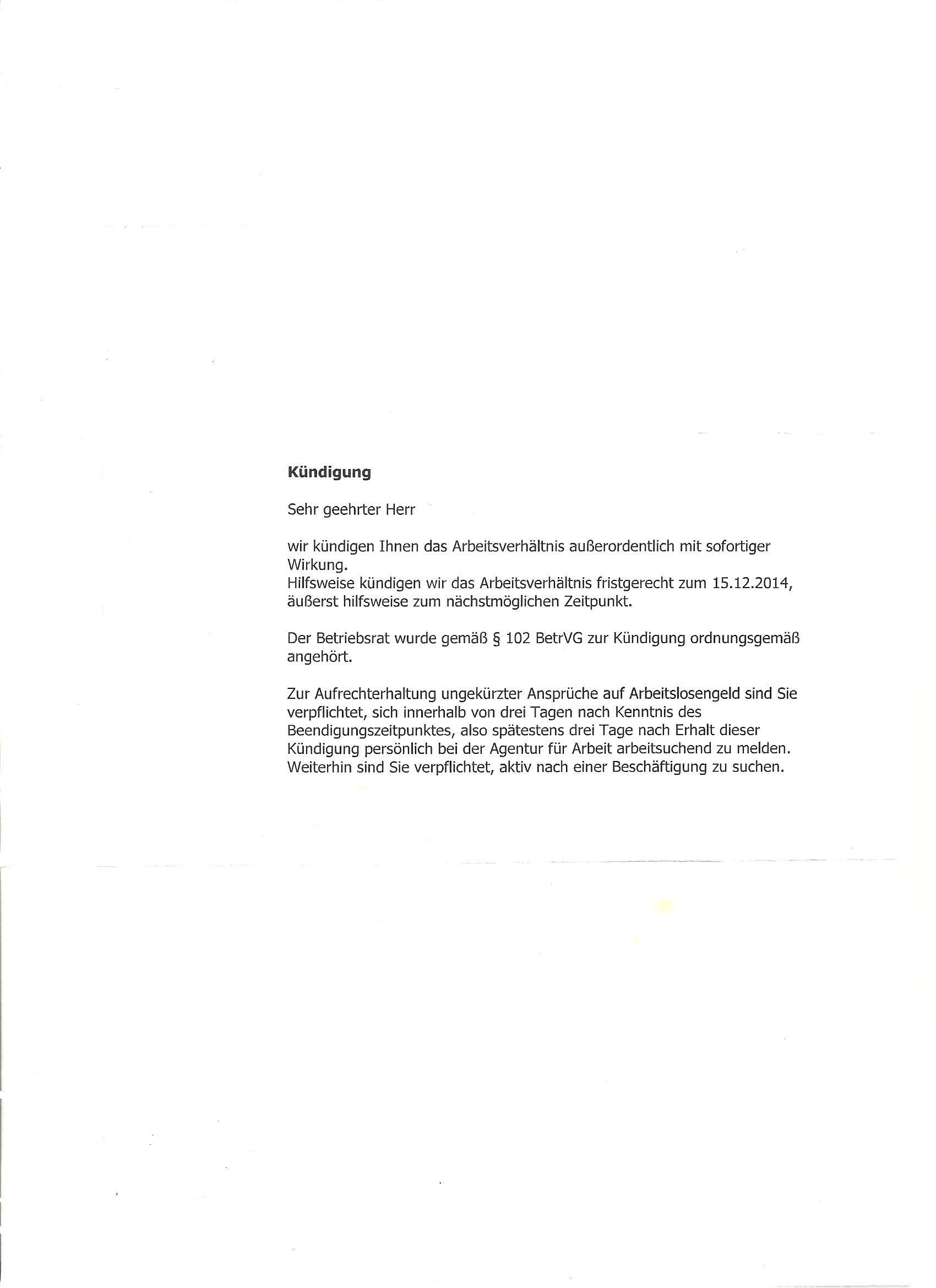 Kündigungschreibenkündigungsschutzklage Kündigung Arbeitsvertrag