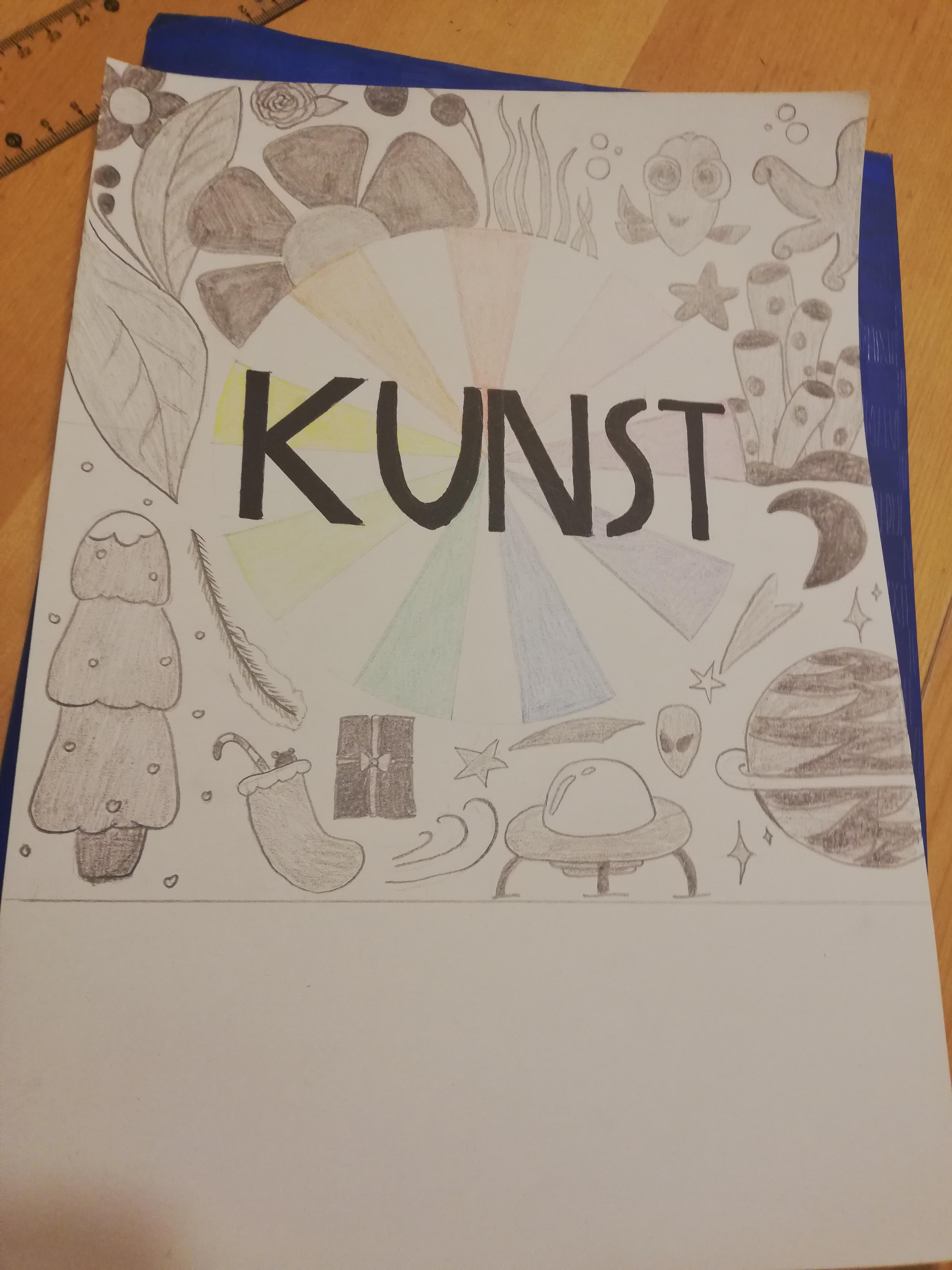 Kunst Deckblatt Inspiration Schule Zeichnen