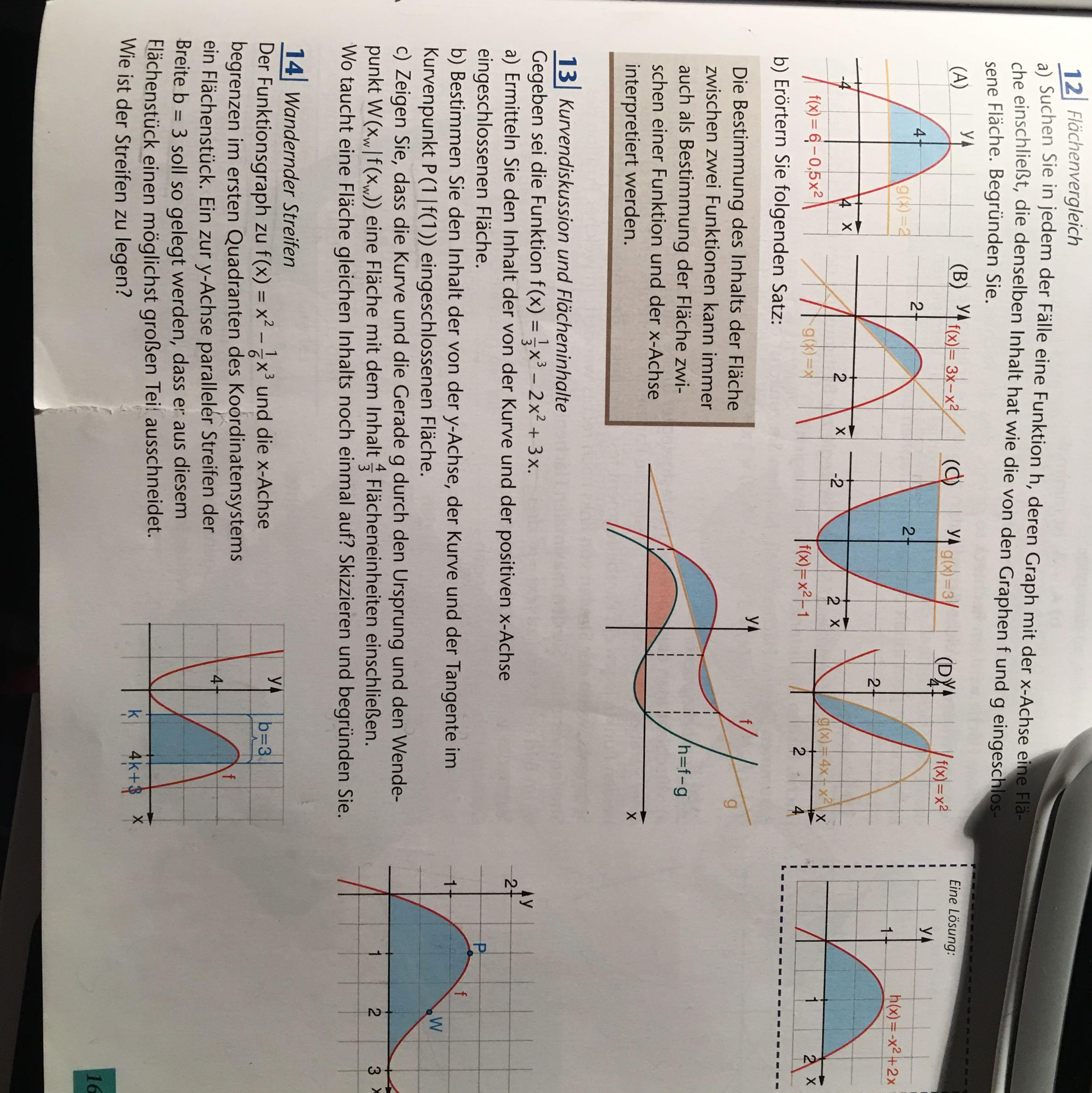 Kurvendiskussion und Flächeninhalte (Integralrechnung)? (Schule ...