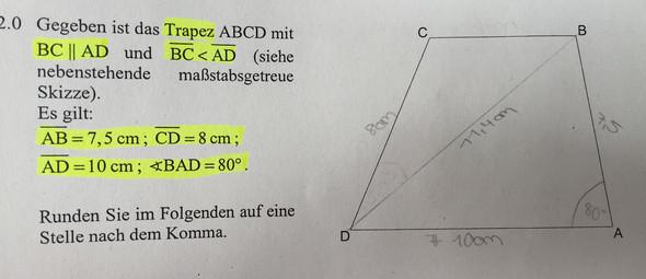 Länge der Strecke berechnen  - (Mathe, Länge, Dreieck)