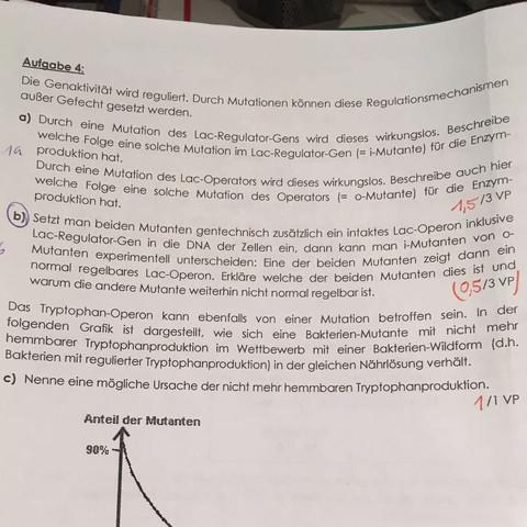 Aufgabe 4b) - (Biologie, Laktose, genregulation)