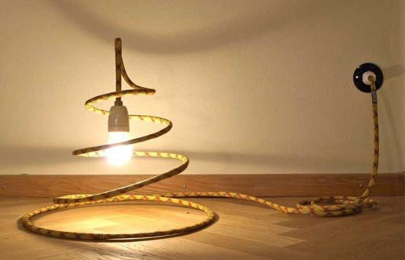 lampe aus altem kletterseil do it yourself klettern basteln. Black Bedroom Furniture Sets. Home Design Ideas
