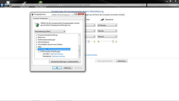 Stromversorgungseinstellungen-Windows - (Spiele, Prozessor, Akku)