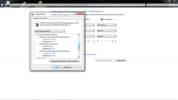 Energieoptionen-Windows - (Spiele, Prozessor, Akku)