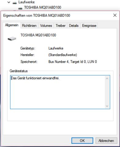 Im Geräte-Manager - (Laufwerk)