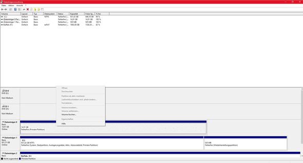 Datenträgerverwaltung mit DropDown Menü bei Festplatte - (Computer, PC, Technik)