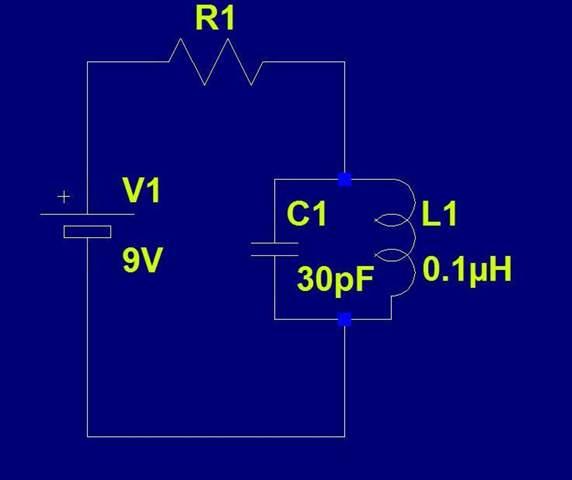 LC Parallelschwingkreis mit 9V batterie am Frequenzzähler?