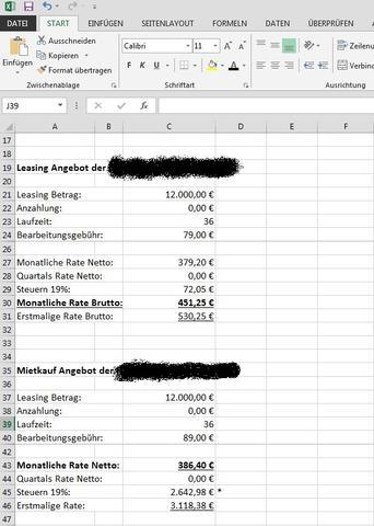 Leasing Berechnung - Feste Leasingrate (Excel, Zinssatz)