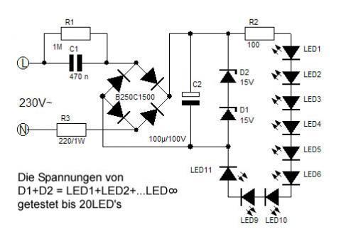 Schaltung - (LED, stromnetz, 220V)