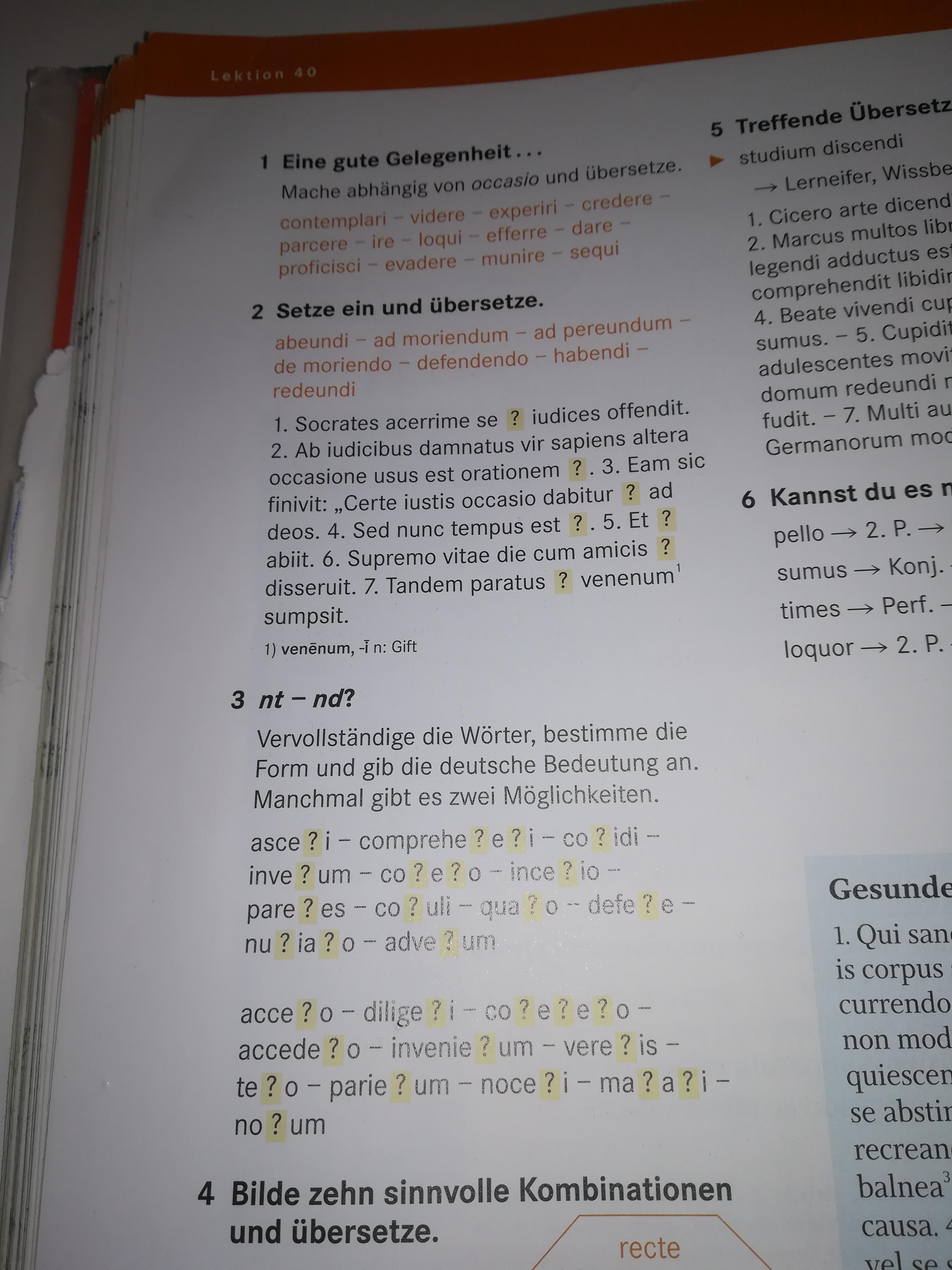 Lektion 40 Aufgabe 123 Cursus A Schule Latein