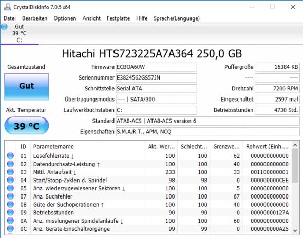 Screenshot von Crystal Disk Info - (Computer, Internet, Technik)