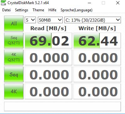 Screenshot von Crystal Disk Mark - (Computer, Internet, Technik)