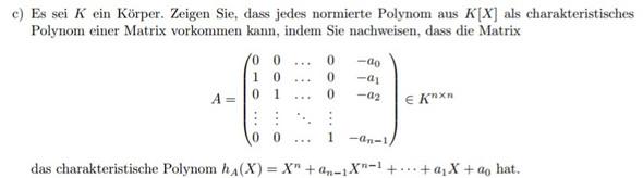 Lineare Algebra charakteristische Polynom? (Schule, Körper, Studium)