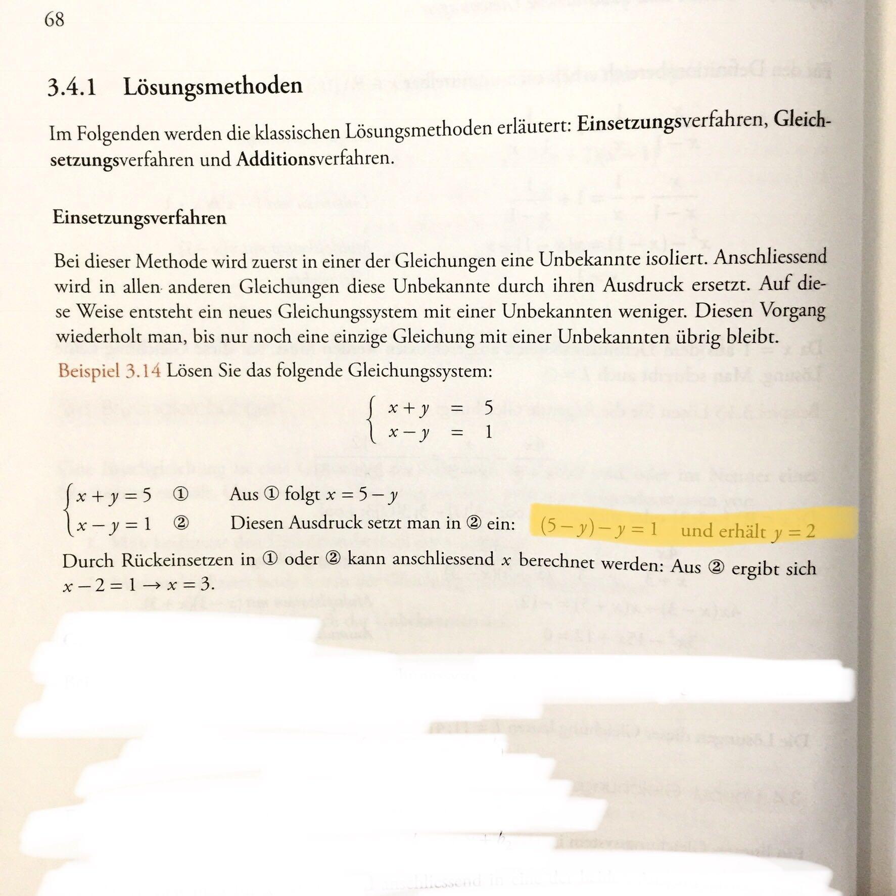 Lineare Gleichungssysteme, Zwischenlösung...? (Schule, Mathematik ...