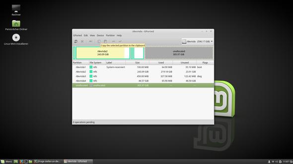 meine 50GB sda4, vorher D, Platte - (Computer, PC, Fehler)