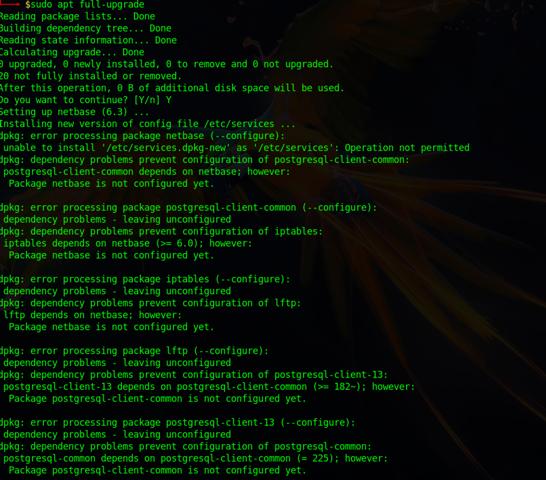 Linux Parrot OS upgraden funktioniert nicht:'error processing  package' , was tun?(gelöst)?
