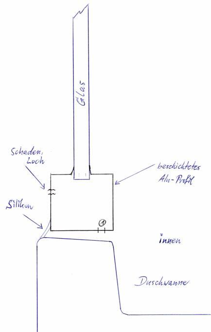 loch in duschkabine wg fehlender silikonfuge dusche. Black Bedroom Furniture Sets. Home Design Ideas