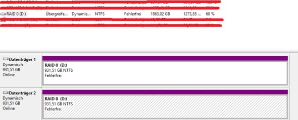 Ausschnitt aus der Datenträgerverwaltung - (Computer, Windows, Festplatte)