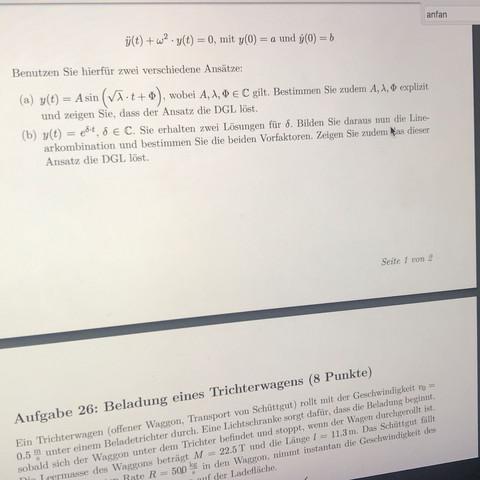Aufgabe c. Lösen sie folgende lineare gewöhliche Differentialgleichung  - (Schule, Mathematik, Physik)