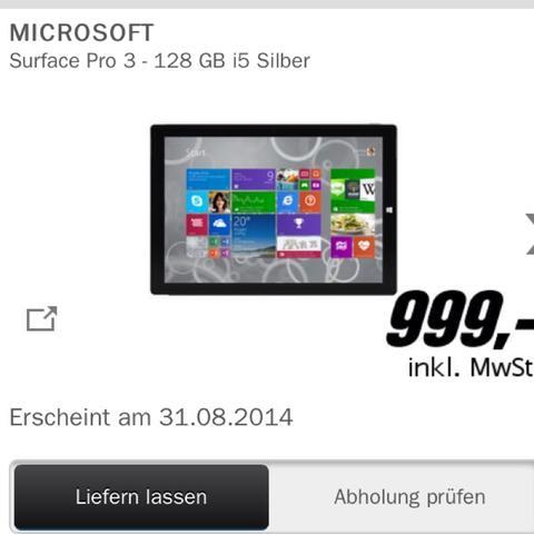 Microsoft Surface Pro 3 intel core i5 128 Gb Speicher und 4 gb RAM  - (Computer, Spiele)