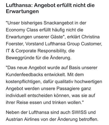 Lufthansa - Essen muss zukünftig bezahlt werden?