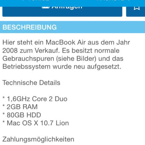 Beschreibung  - (Apple, Mac, Macbook)