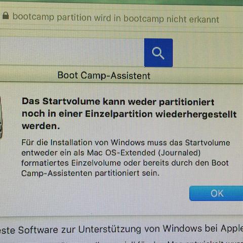 Bootcamp Fehler Wen ich noch mal Windows installieren will  - (Fehler, Mac, Partition)