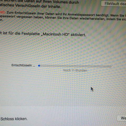 Mac FileVault deaktivieren?