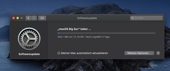 Mac OS Big Sur Update sehr langsam?