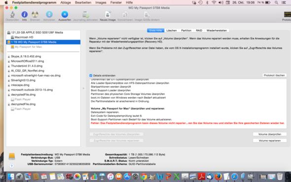 Macbook erkennt externe Festplatte MyPassport nicht mehr?