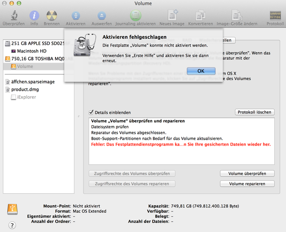 mac pro erkennt externe festplatte nicht