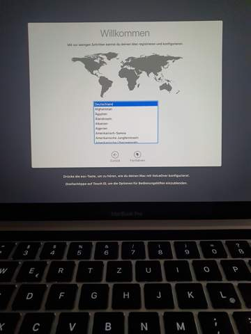 Macbook pro 2020 Deutschland auswählen geht nicht?