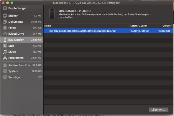 Macbook Speicherplatz iOS-Dateien?