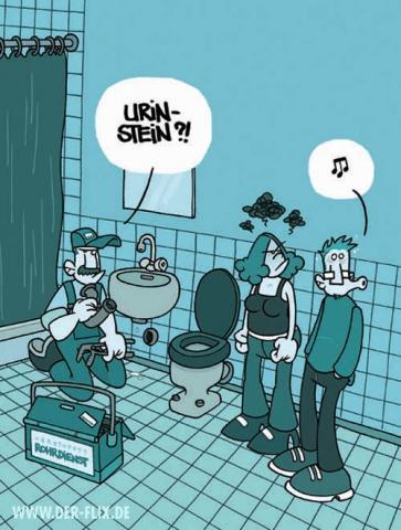 frau pinkelt in waschbecken