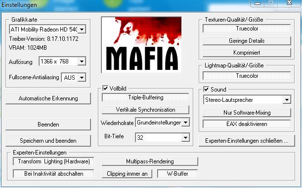 Mafia Beste Grafikeinstellungen (Computer, PC, Games
