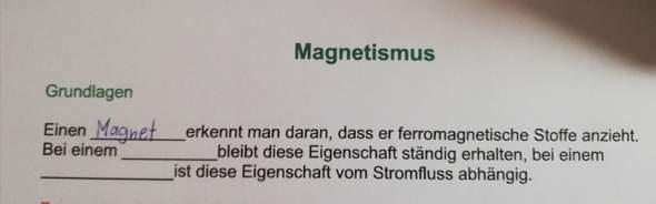 Magnetismus Lückentext?