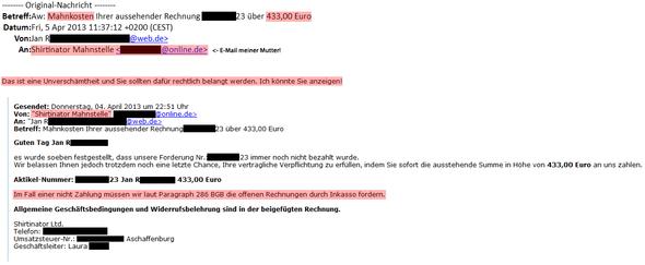 E-Mail - (Recht, Betrug, Inkasso)