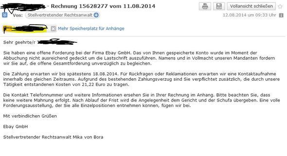 Mahnungsmail Bekommen Was Nun Ebay E Mail Rechtsanwalt