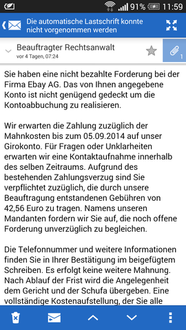 die mail - (Ebay, Phishing)