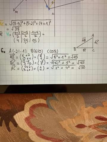Man soll bei 6. zeigen, dass das Dreieck ein bei C rechtwinkliges Dreieck ist?