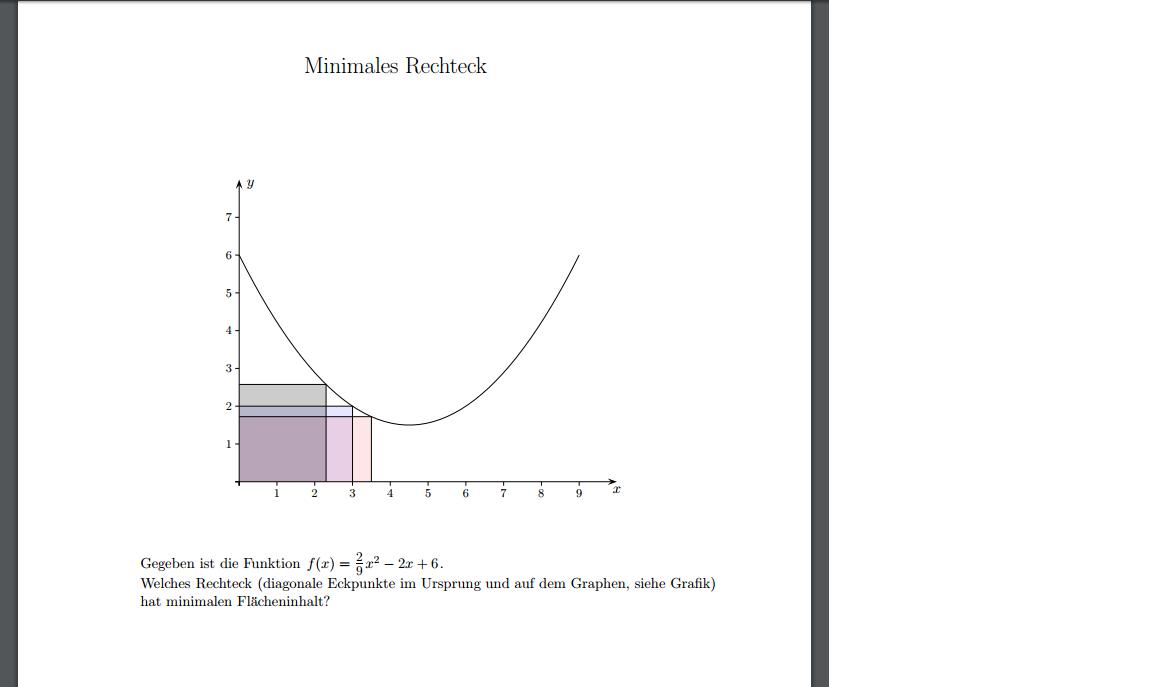mathe - extremwertaufgabe - minimal. flächeninhalt parabel