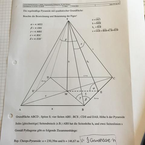 Höhe Von Pyramide Berechnen