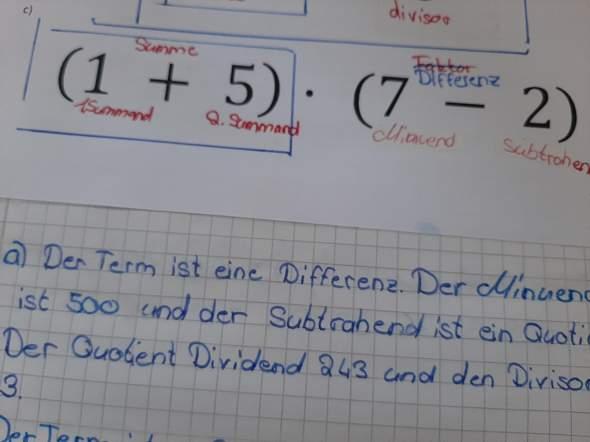 Mathe 5.klasse wie nennt man eine klammer aufgabe?