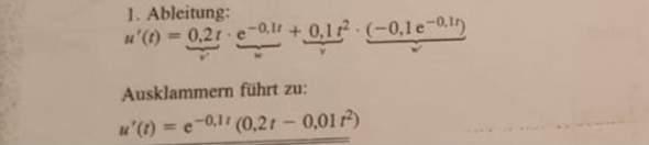 mathe Ableitung, wie soll man hier Ausklammern?