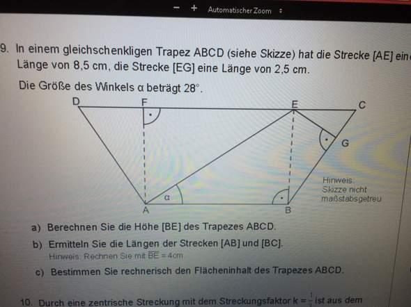 Matheaufgabe lösen (Trapez)?