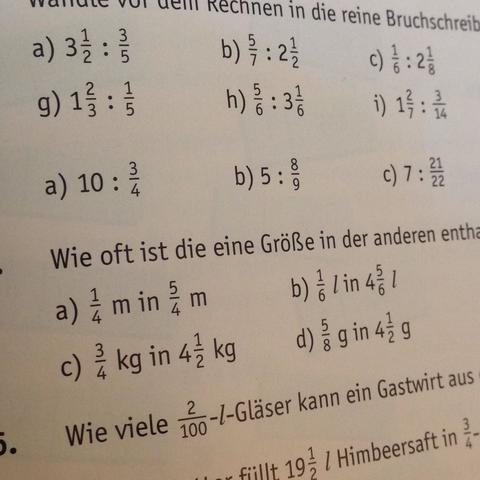 wie kann ich die mathe brüche umwandeln? (zahlen, bruch, dividieren)