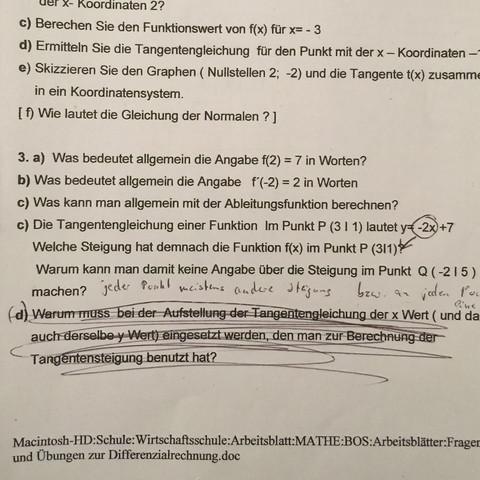 Mathe Differenzialrechnung, jemand fit? (differentialrechnung)
