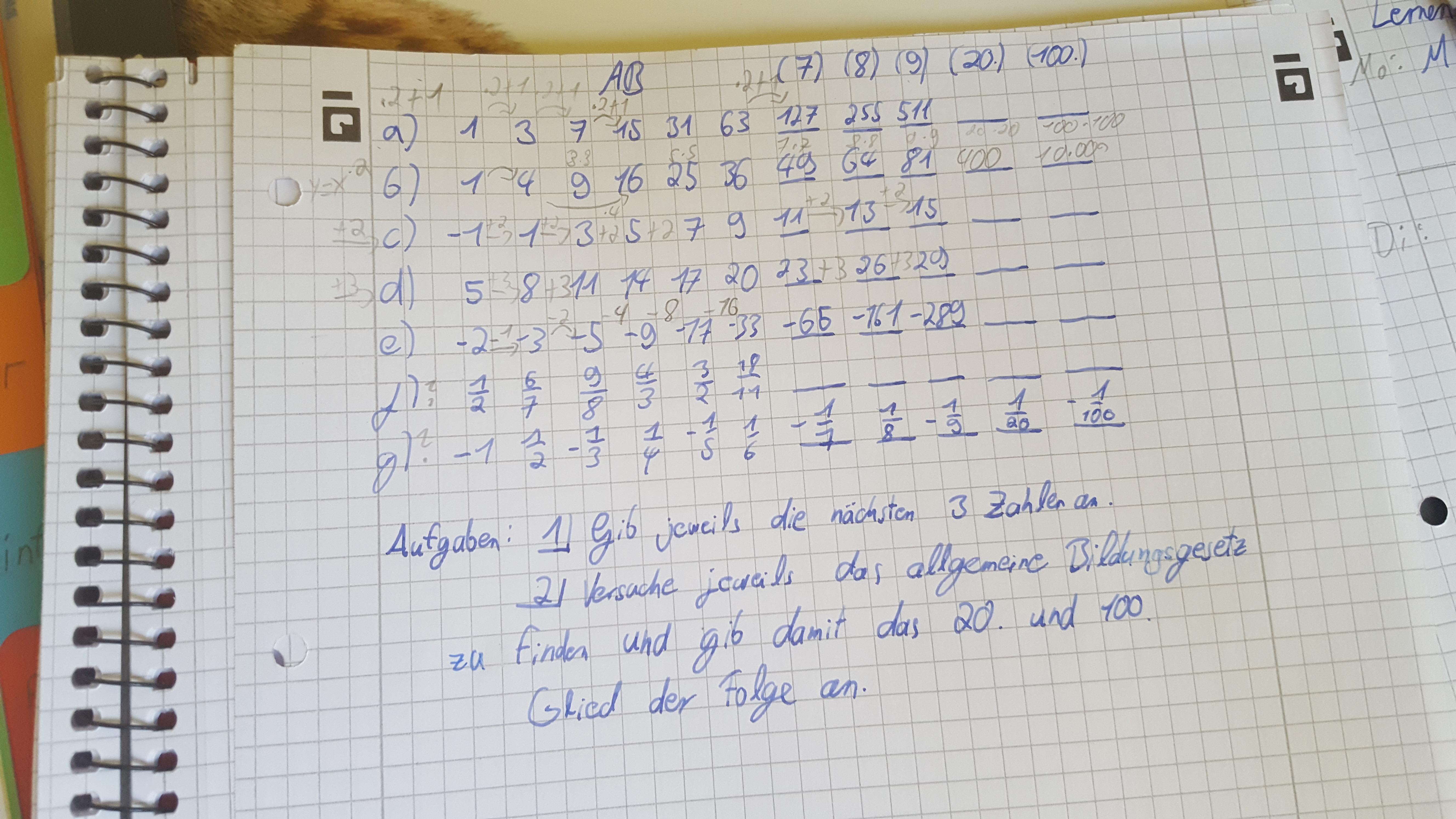 Mathe: Funktionen von Zahlenfolgen aufstellen? (Schule, Hausaufgaben ...